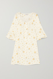 Jane ruffled floral-print linen mini dress