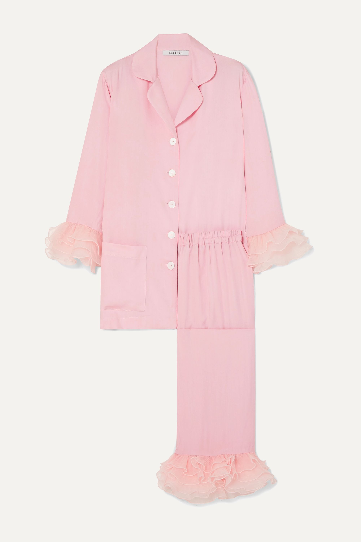 Sleeper Arlekino ruffled chiffon-trimmed crepe de chine pajama set