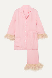 Sleeper Satin and feather-trimmed crepe de chine pajama set