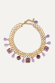 Loulou de la Falaise Gold-plated, amethyst and glass choker