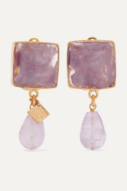 Loulou de la Falaise Gold-plated, glass and amethyst clip earrings
