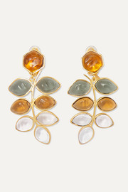 Loulou de la Falaise Gold-plated and glass clip earrings