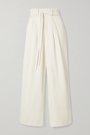 Belted cotton-corduroy wide-leg pants