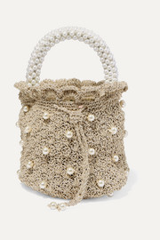 Bucket of Shimmer faux pearl-embellished metallic crocheted tote