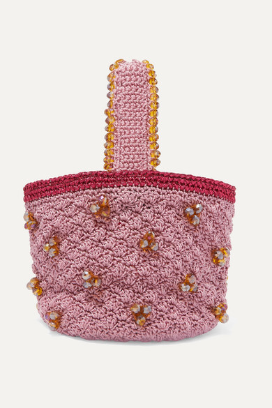 Peonies Sack Beaded Crocheted Tote by Suryo