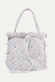 Bucket of Ice beaded metallic crocheted tote