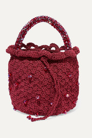 Bucket of Rubies beaded crocheted tote