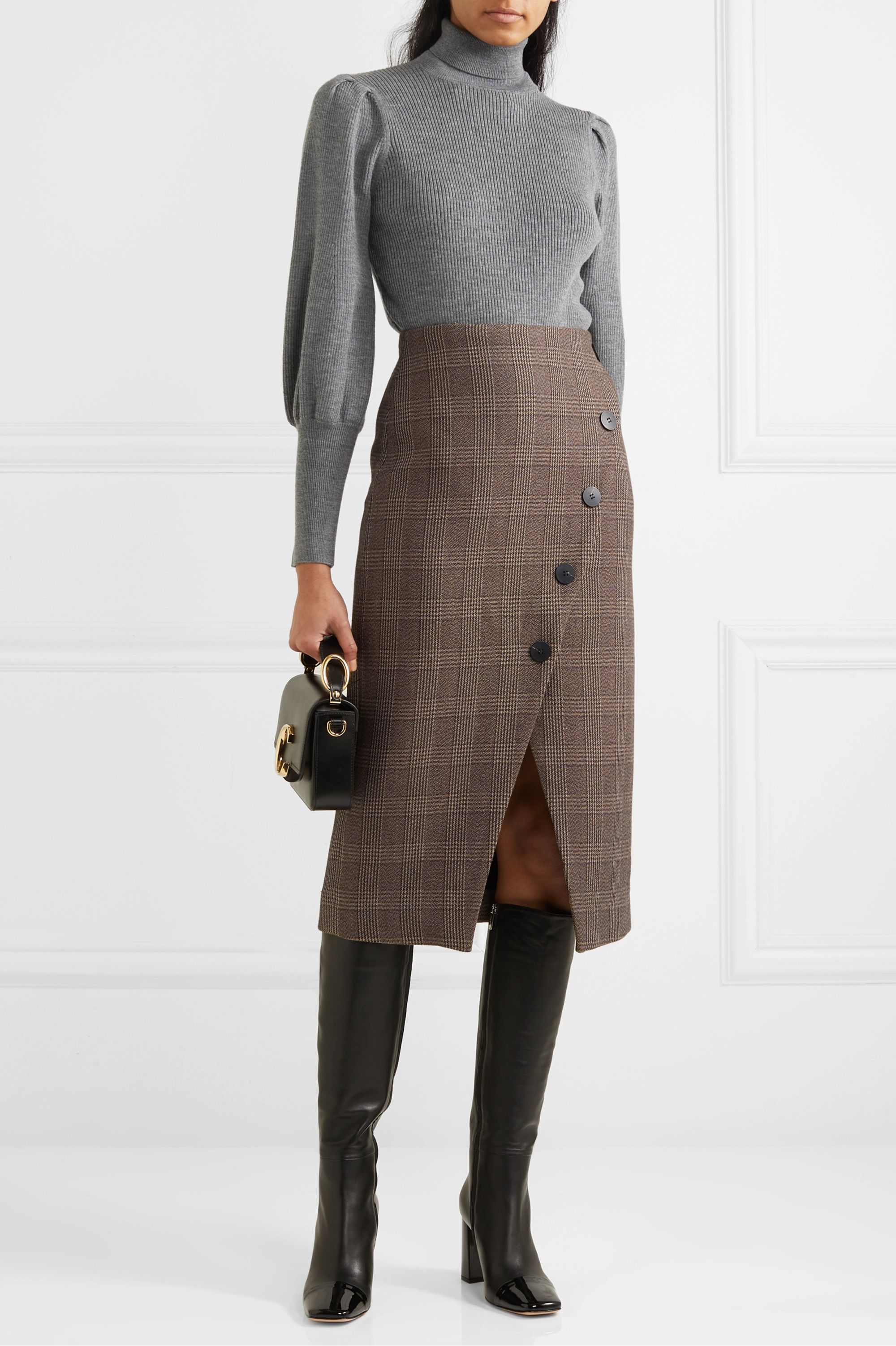 Cefinn Selby wrap-effect Prince of Wales checked cotton-blend midi skirt