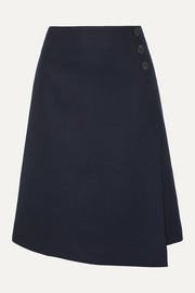 Cefinn Audrey wrap-effect asymmetric wool-blend skirt