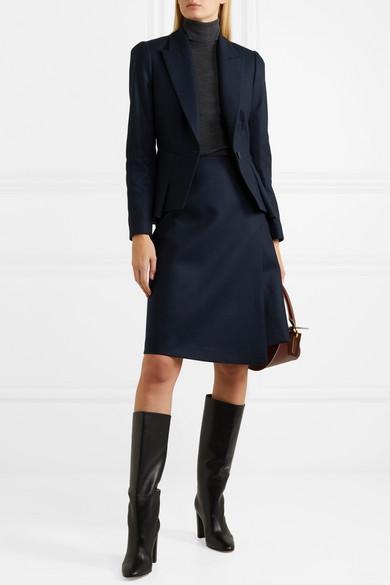 Audrey Wrap Effect Asymmetric Wool Blend Skirt by Cefinn