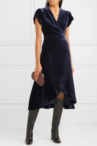 Layla Velvet Wrap Dress by Cefinn