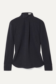 Cefinn Riley pleated voile turtleneck blouse