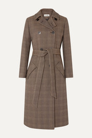 Cefinn Sullivan belted Prince of Wales checked cotton-blend trench coat