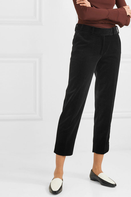 Tatum piped cotton-velvet tapered pants