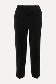 Cefinn Tatum piped cotton-velvet tapered pants