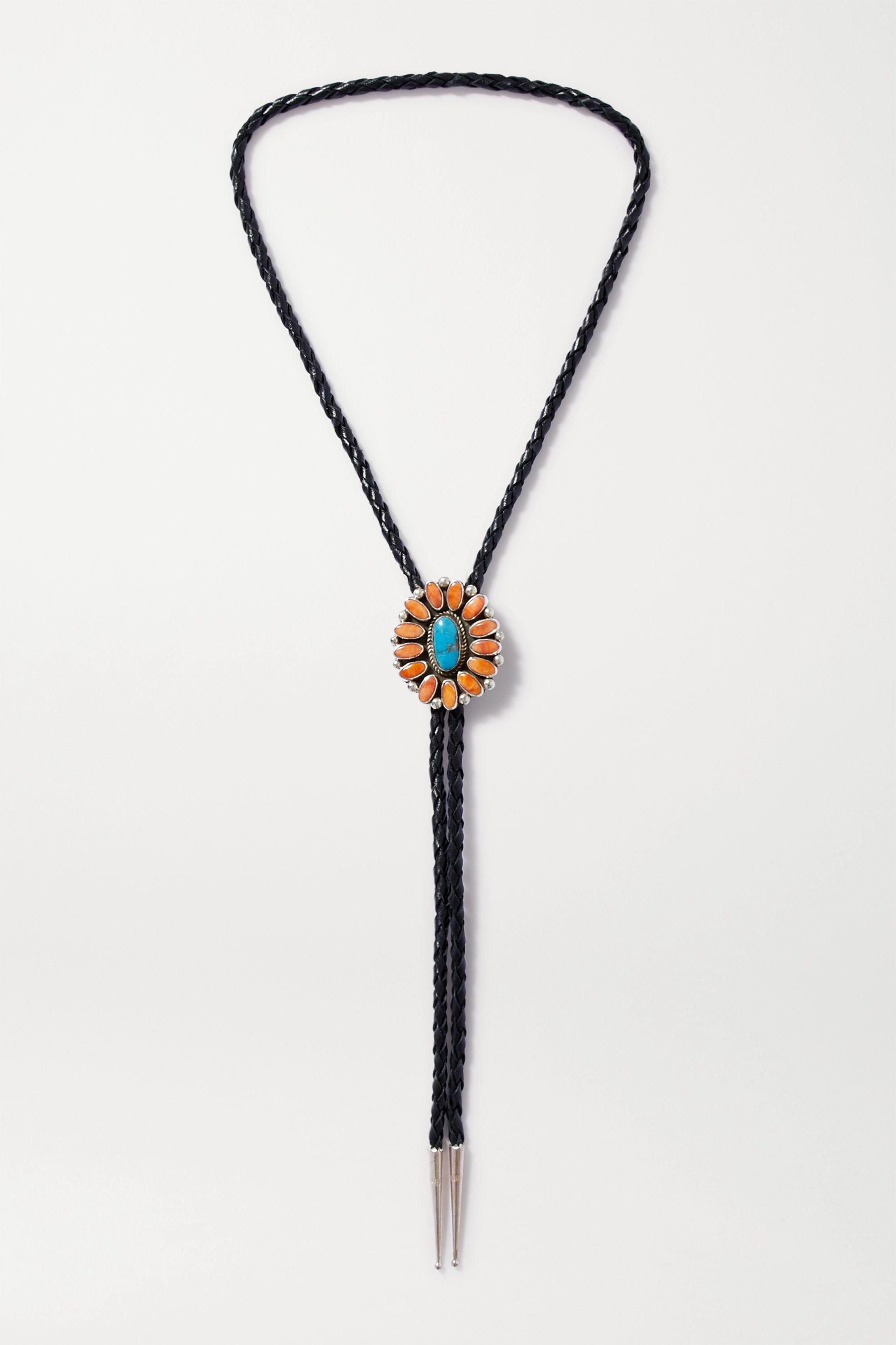 Jessie Western Leather, shell, turquoise and silver necklace