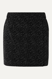 Glittered cotton-velvet mini skirt