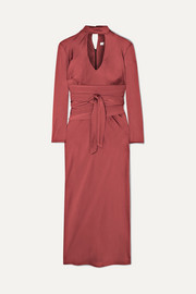 The Line By K Porter belted cutout hammered-satin midi dress
