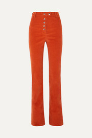 Mona cotton-corduroy straight-leg pants