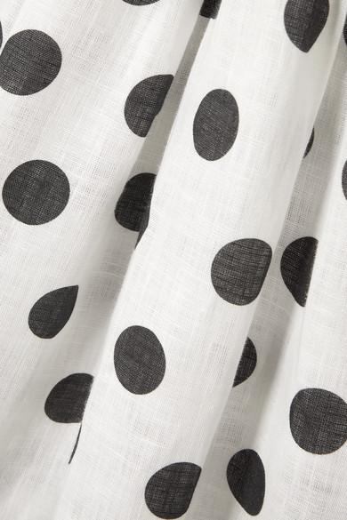 8b2001a3c3 Sleeper. Atlanta off-the-shoulder shirred polka-dot linen midi dress.  320.  Play. Zoom In