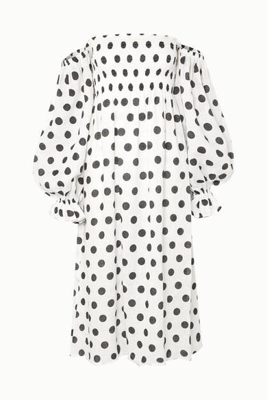 2d14d1704a Sleeper. Atlanta off-the-shoulder shirred polka-dot linen midi dress