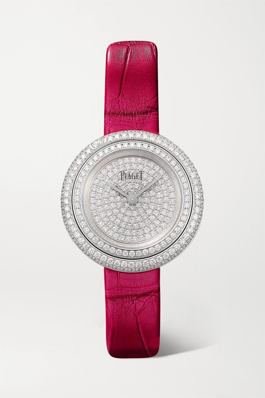 Piaget Possession 29mm 18-karat white gold, alligator and diamond watch
