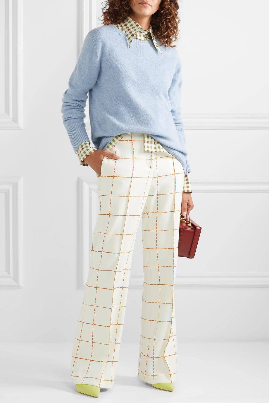 Victoria Beckham Pantalon large en serge de laine mélangée à carreaux