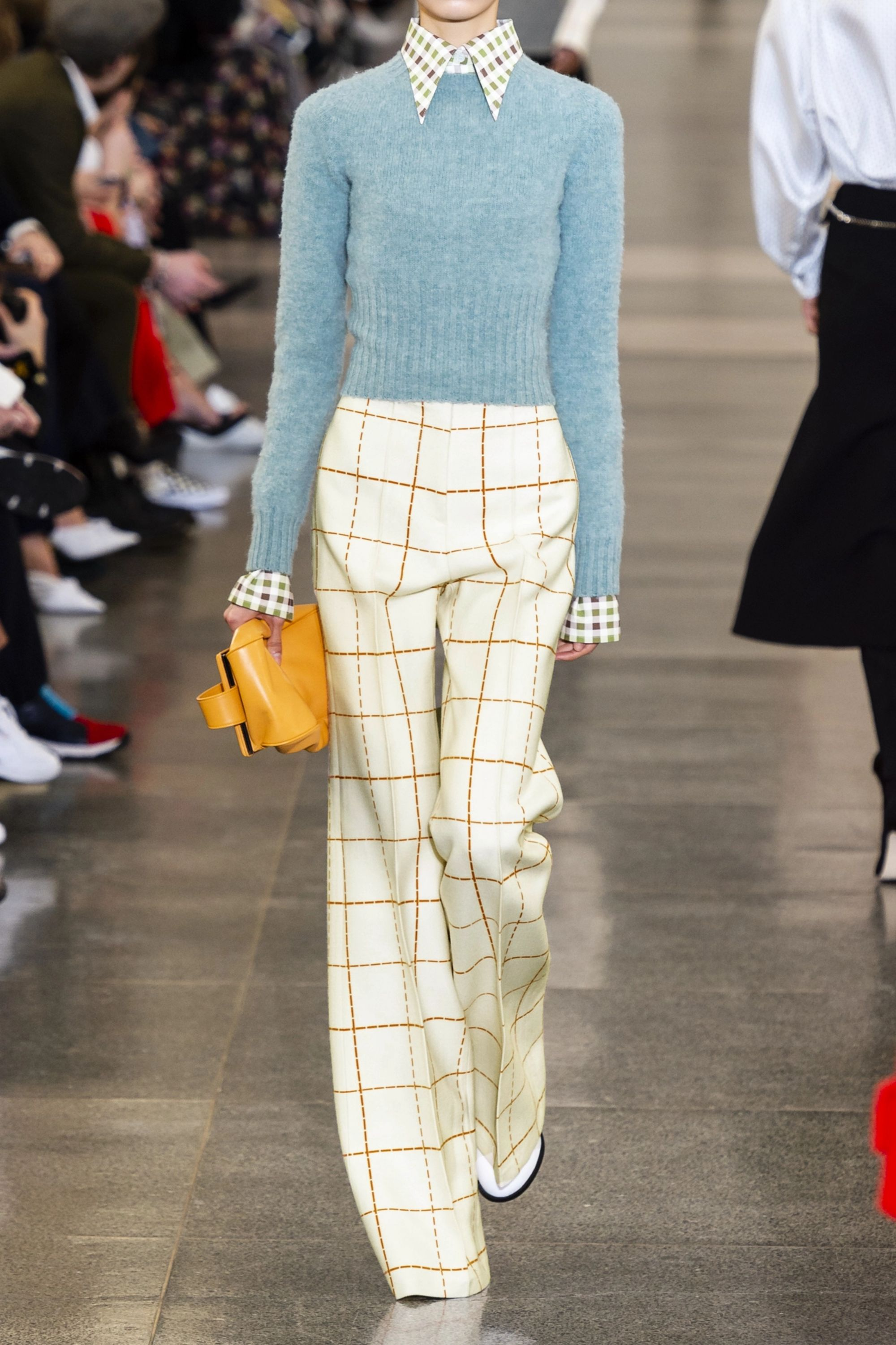 Victoria Beckham Checked wool-blend twill wide-leg pants