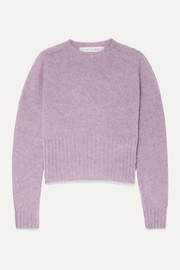 Cropped mélange wool sweater