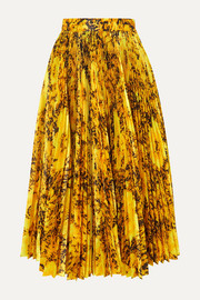 Richard Quinn Pleated floral-print taffeta midi skirt