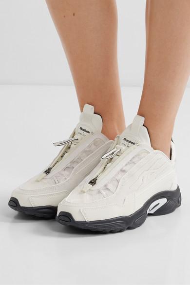 Reebok | + Gigi Hadid DMX 2200 mesh and leather sneakers