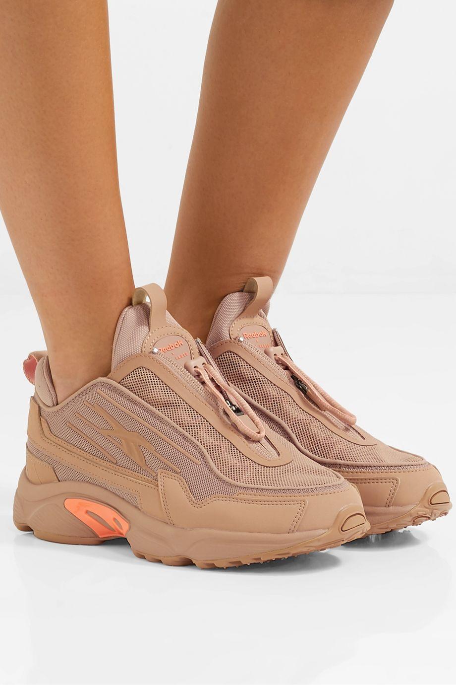 Reebok + Gigi Hadid DMX 2200 mesh and leather sneakers