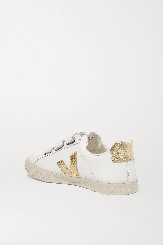 Veja + NET SUSTAIN 3-Lock Logo metallic-trimmed leather sneakers