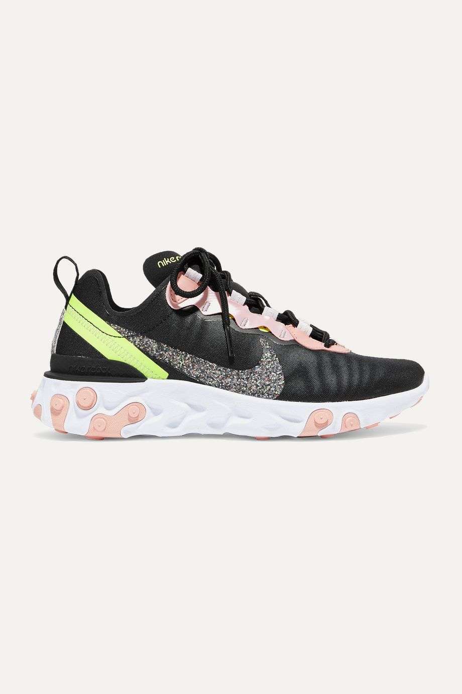 Nike React Element 55 glittered canvas and faux leather sneakers