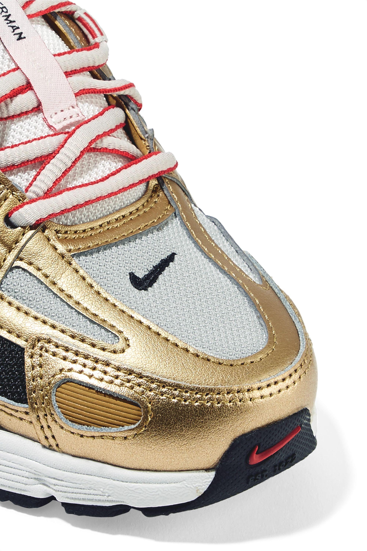 Nike P-6000 metallic leather and mesh sneakers