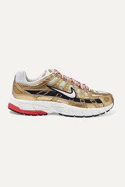 Nike P-6000 metallic leather and mesh sneakers