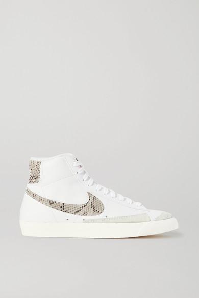 Blazer Mid 77 High Top Sneakers aus Leder mit Velourslederbesatz