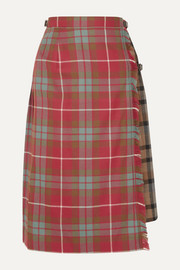 Andersson Bell Buckled asymmetric paneled pleated checked wool skirt