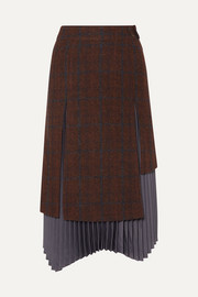 Marcia layered wool and alpaca-blend and pleated satin skirt