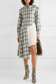 Andersson Bell Olivia asymmetric paneled checked twill and pleated crepe dress