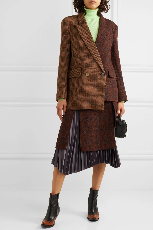 Andersson Bell Olga Asymmetric paneled checked wool and alpaca-blend blazer