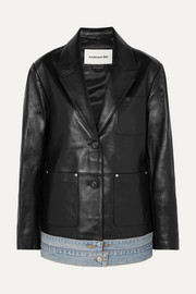 Andersson Bell Denim-trimmed leather blazer