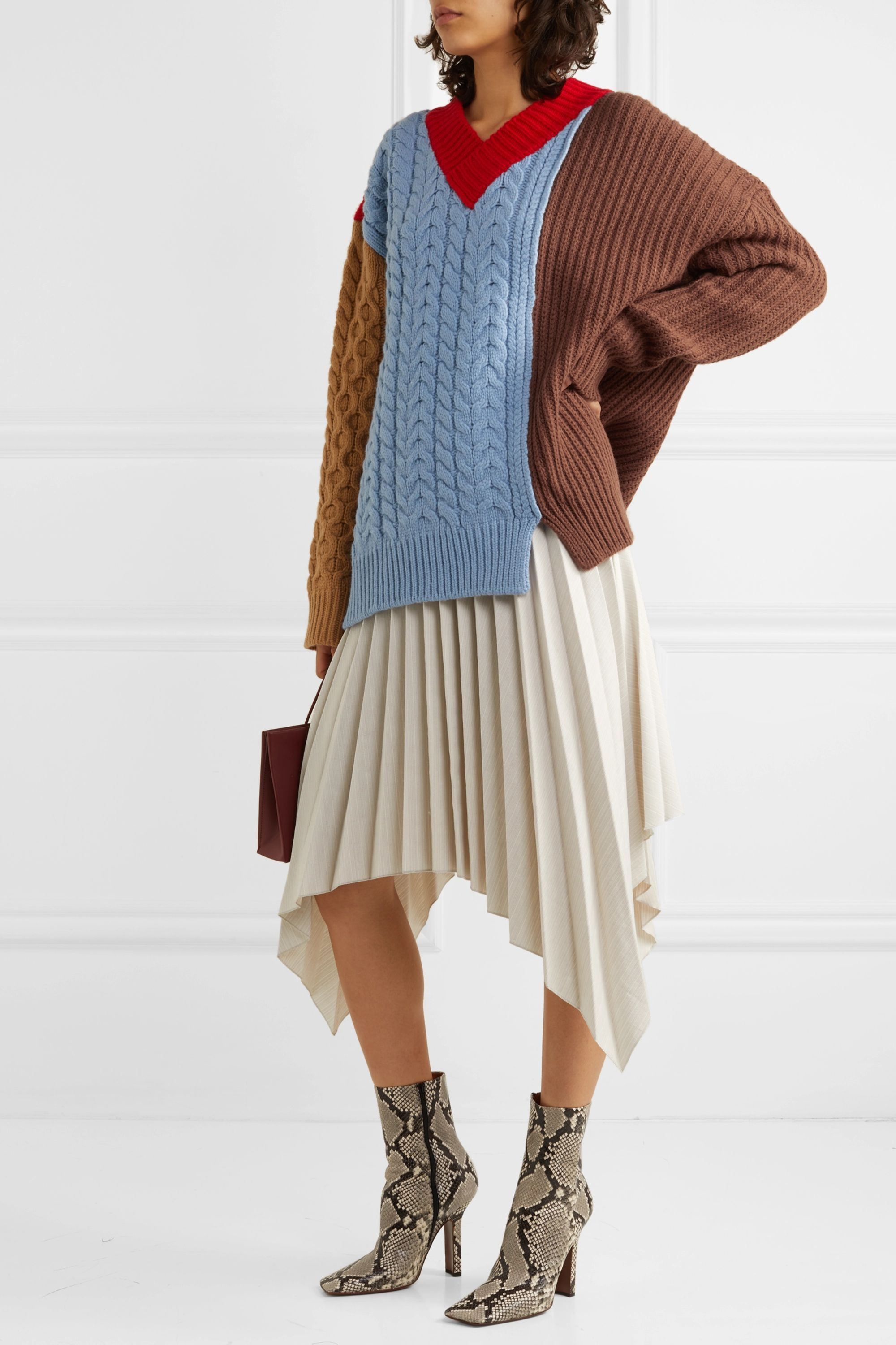Andersson Bell Oversized color-block wool-blend sweater