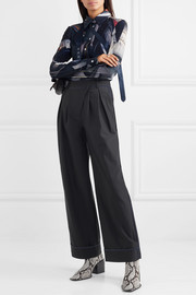 Andersson Bell Daria pleated pinstriped twill wide-leg pants