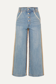 Andersson Bell Distressed high-rise wide-leg jeans