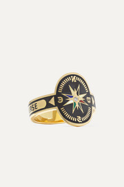 Course Correction 18-karat gold, diamond and enamel ring