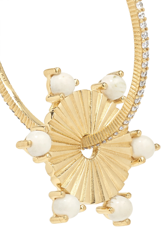 Foundrae Medium 18-karat gold, diamond and petrified wood hoop earring
