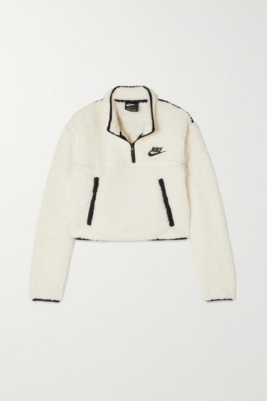 Cropped Jersey Trimmed Fleece Sweatshirt by Nike