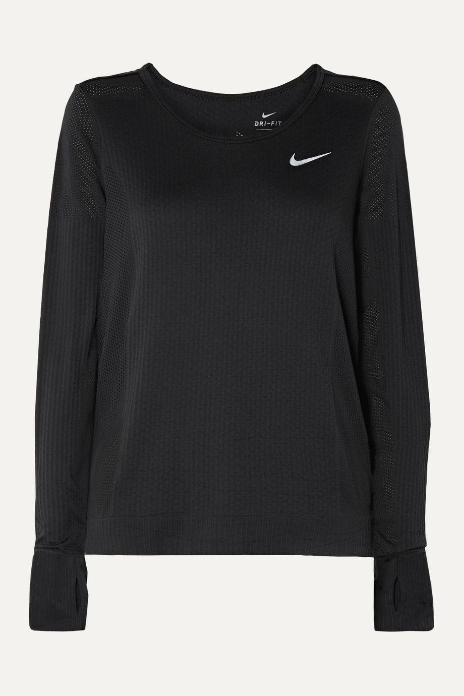 Nike Infinite mesh-paneled Dri-FIT stretch-jacquard top