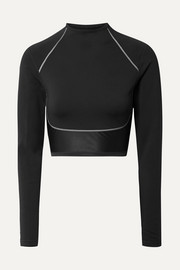 City Ready cropped paneled neoprene and stretch top